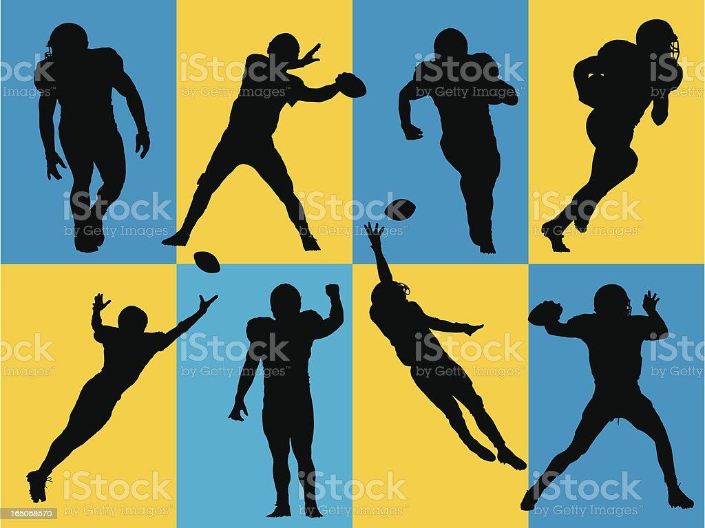 Football Silhouettes vector art illustration