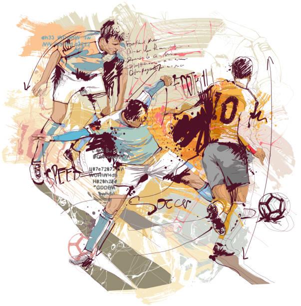 aksiyon futbol sketch - yalnızca yetişkinler stock illustrations