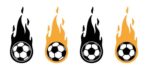 bildbanksillustrationer, clip art samt tecknat material och ikoner med fotboll fotboll eld vektor ikon logotyp sport seriefigur symbol illustration doodle design - fotboll eld