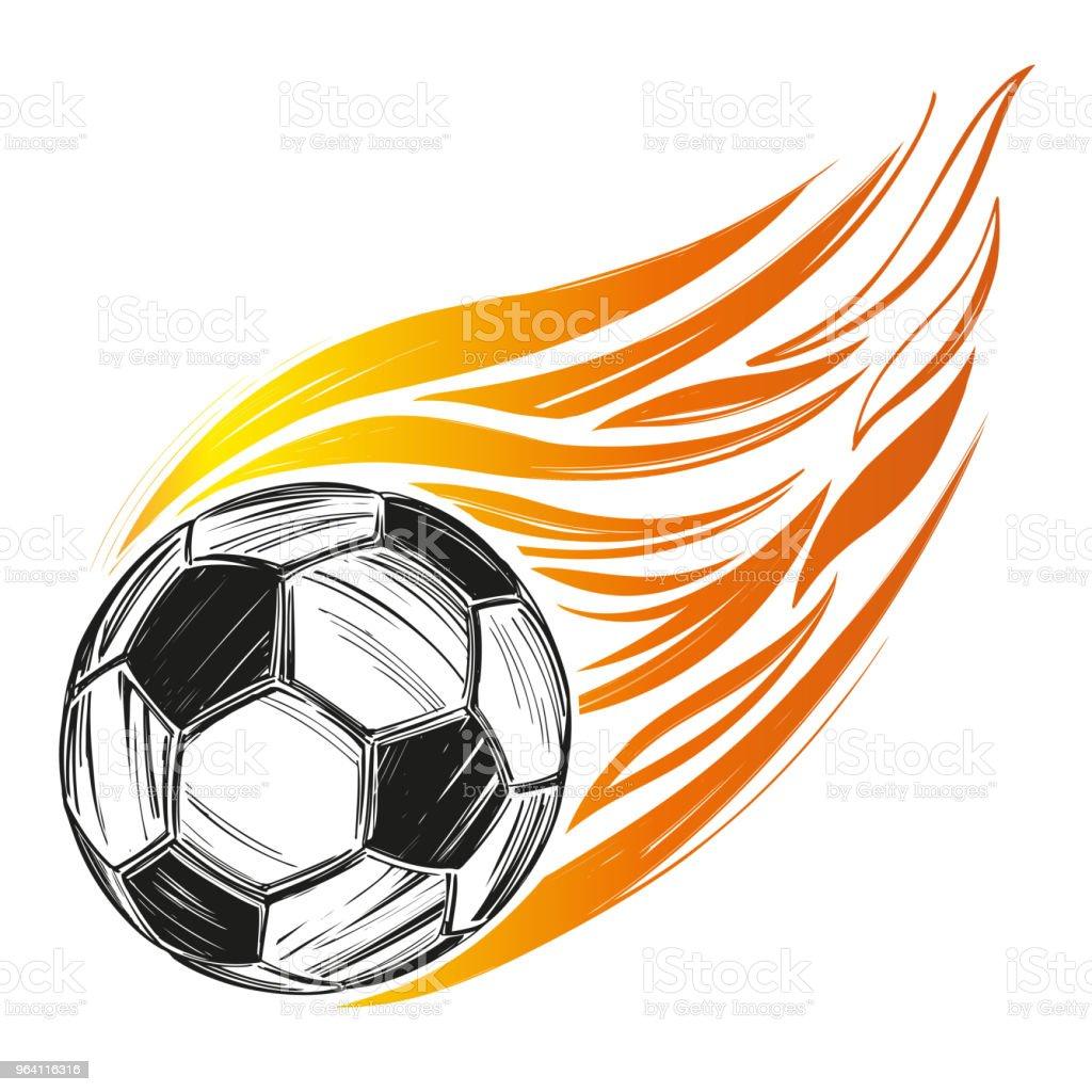 Fussball Fussball Ball Flamme Sportspiel Emblem Zeichen Von