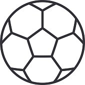 Football soccer ball outline icon, modern minimal flat design style