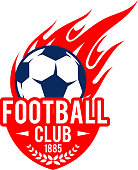 Football club icon template of soccer ball flying with fire flame in goal gates. Vector isolated symbol of soccer or football team club shield badge with stars and laurel wreath