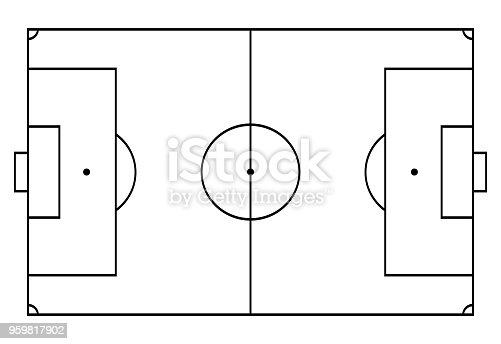 istock football, soccer court. Sport background. Line art style 959817902