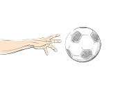 Football / Soccer flying ball in the line art style. Hand reaching for ball.