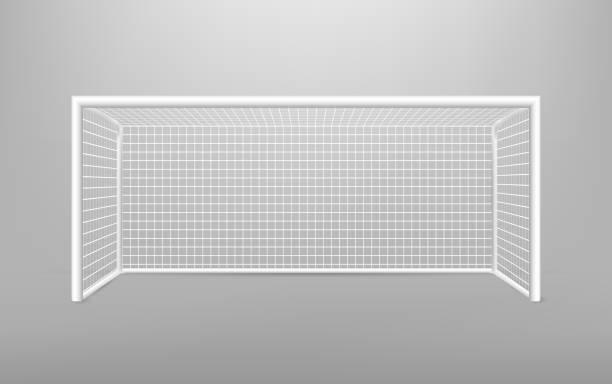 stockillustraties, clipart, cartoons en iconen met voetbal voetbal doel realistische sportuitrusting. voetbal goal met schaduw. geïsoleerd op transparante achtergrond. vectorillustratie. - goal