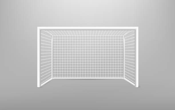 Equipo de deportes de portería de fútbol fútbol realista. Portería de fútbol con sombra. aislado sobre fondo transparente. Ilustración de vector. - ilustración de arte vectorial
