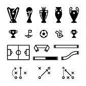 A set of minimalist football / soccer vector icons, ideal elements for your sporting design project. The icon set includes a number of football trophies, a corner flag, ball and whistle, as well as a pitch, set of scarves and various tactical plays. These football vectors can be scaled to any size without loss of quality and it's simple to change their colour to suit your needs.