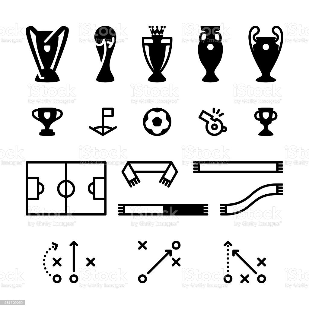 Football Soccer Icon Set vector art illustration