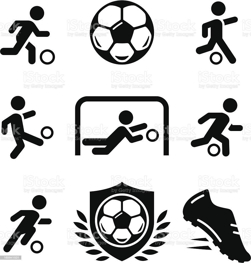 Football/Soccer ícones-preto Series - ilustração de arte em vetor
