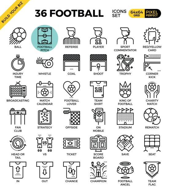Football / Soccer Icons Football / Soccer outline icons modern style for website or print illustration fan club stock illustrations