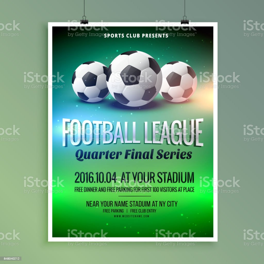 Football Soccer League Event Flyer Poster Design Template Stock Illustration Download Image Now Istock