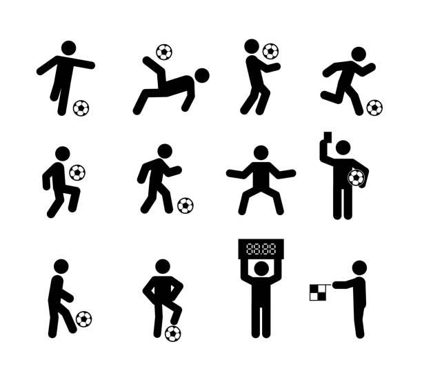stockillustraties, clipart, cartoons en iconen met voetbal soccer player acties vormt stok figuur pictogram symbool teken - soccer player