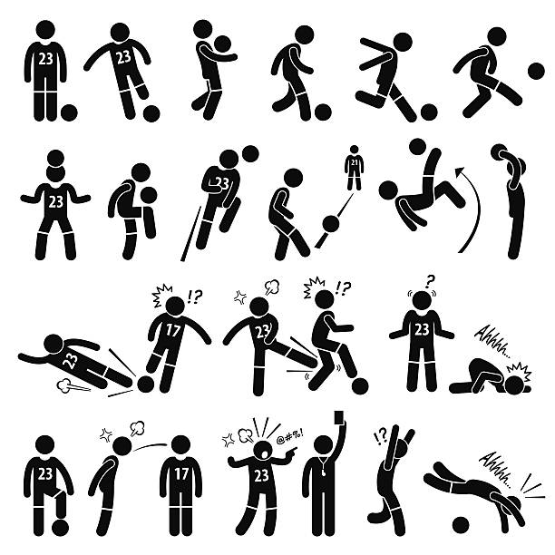 Football Soccer Player Footballer Actions Poses Stick Figure Pictogram Icons A set of stickman pictogram representing footballer actions, skills, and poses. Apart from that, it also shows a footballer intentionally kick other player, getting a red card, unsportsmanlike and diving. infamous stock illustrations