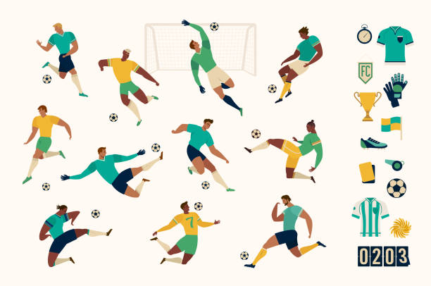 Football soccer player set of isolated characters and modern set of soccer and football icons. Vector illustration. vector art illustration