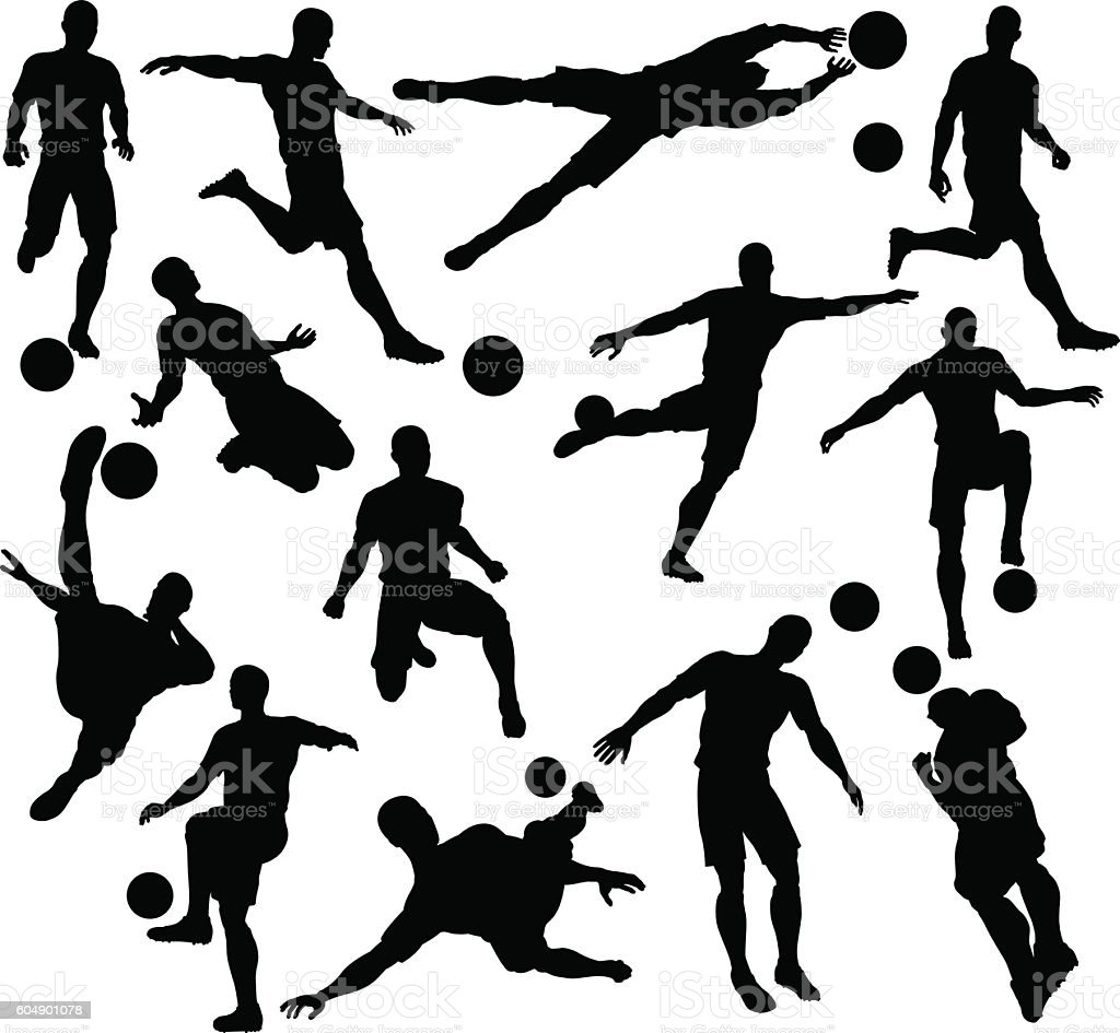 Football Soccer Player Silhouettes vector art illustration