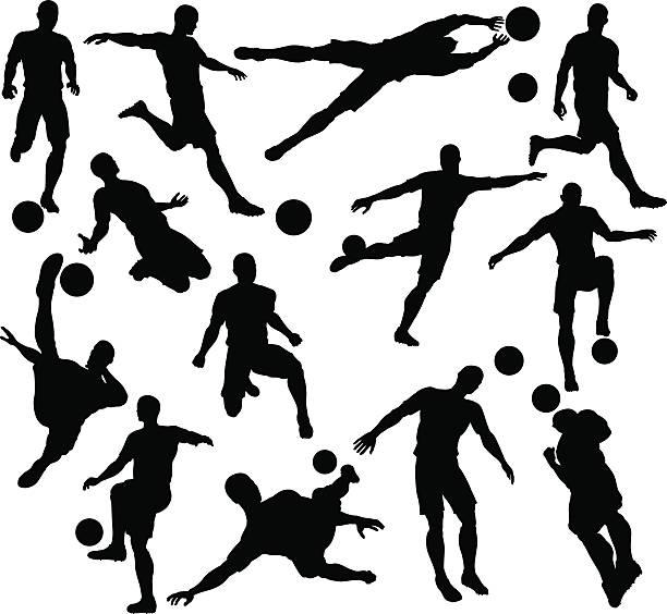 stockillustraties, clipart, cartoons en iconen met football soccer player silhouettes - soccer player