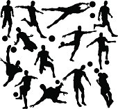 Football Soccer Player Silhouettes