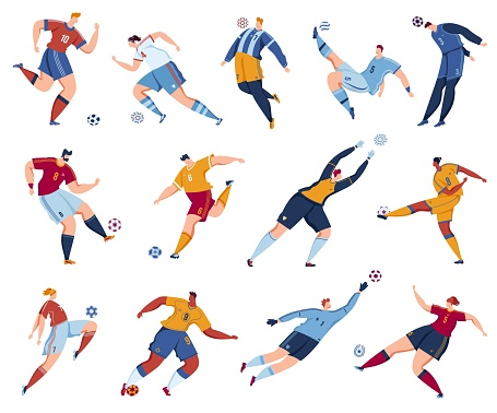 Football soccer player vector illustration set, cartoon flat footballers collection with athlete people jump high, kick ball