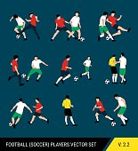 Football, soccer players vector set. Different poses of players, football players in motion: the struggle for the ball, the dispute of a football player with the judge, a trick, overtaking.