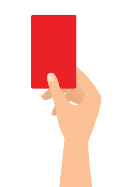 Football soccer referee hand with red card on white background. vector art illustration