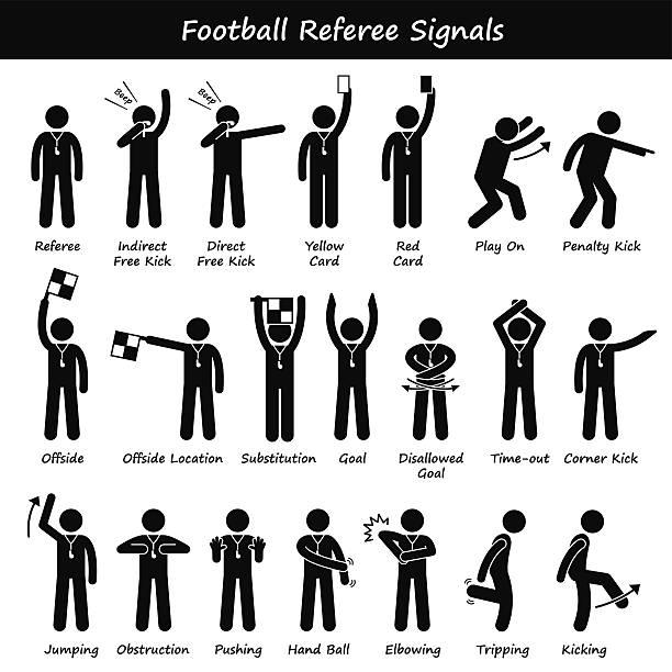 Fußball Fußball Schiedsrichter Beamten Handzeichen Illustrationen – Vektorgrafik