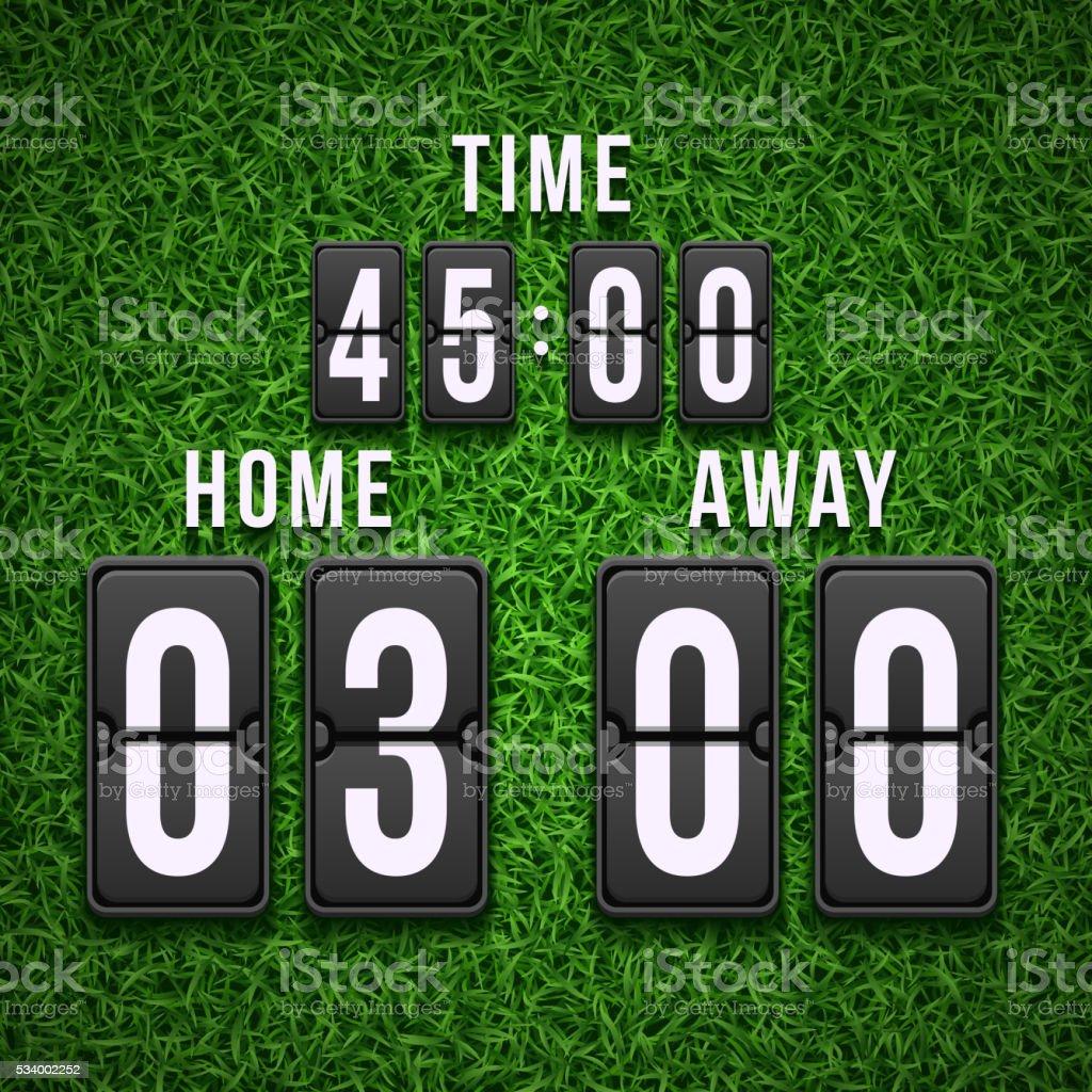 Football soccer scoreboard on grass background. Vector template vector art illustration