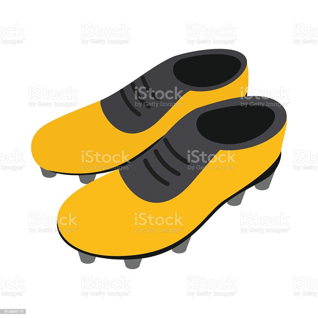 Football soccer shoes isometric 3d icon vector art illustration