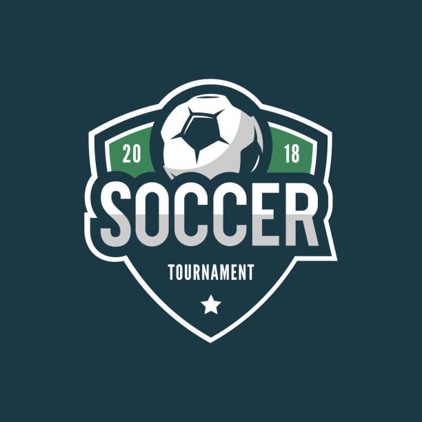 bildbanksillustrationer, clip art samt tecknat material och ikoner med fotboll. sport emblem. vektor illustration - fotboll