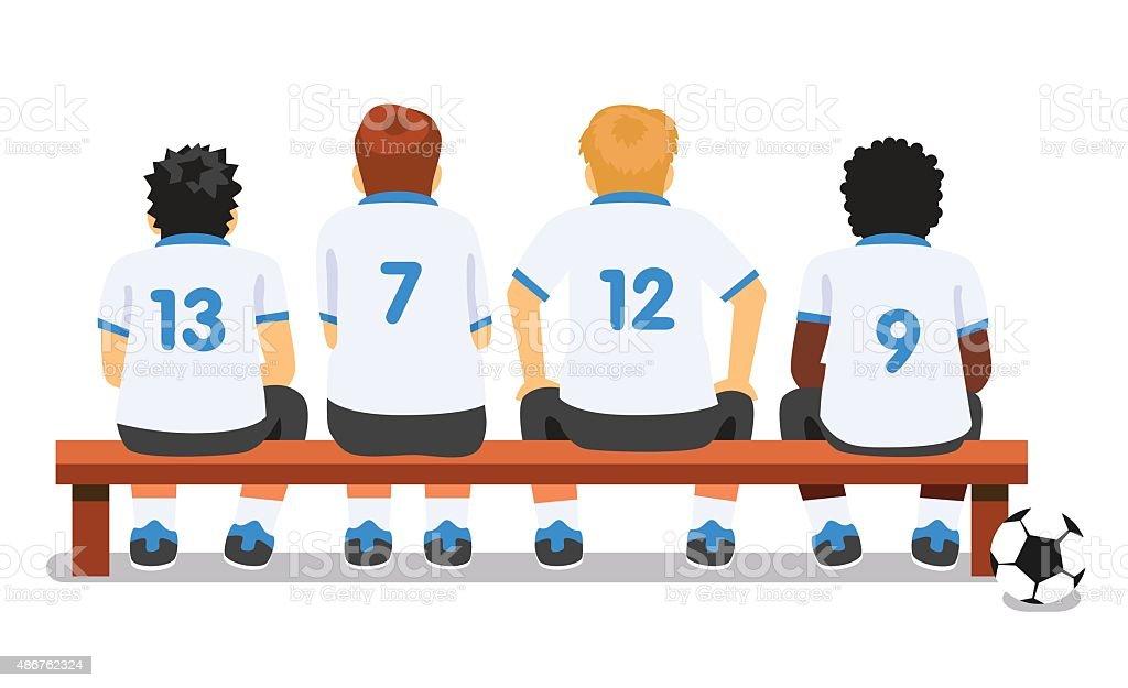 desporto de equipa de futebol de futebol sentado sobre uma bancada