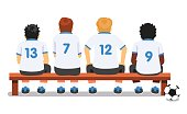 Football soccer sport team sitting on a bench