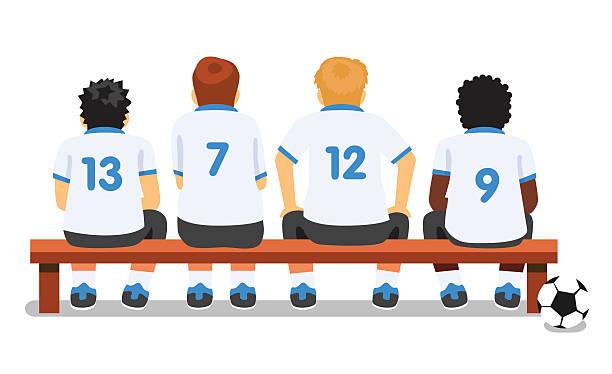 Football soccer sport team sitting on a bench vector art illustration