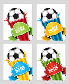Football. Speech bubble on a sports theme. Origami dialogue banner for your message. Special offer. Discount tag, badge, emblem. Web stickers. Price tag template for catalog with space for text