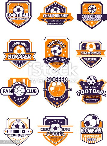 Football sport club shield badge for soccer championship of college league. Soccer ball heraldic symbol, adorned with champion laurel wreath, ribbon banner and star for football team emblem design