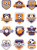 Football sport badge with soccer ball on shield