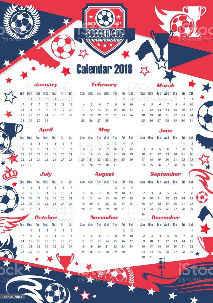 Calendário de esporte de futebol de Copa - ilustração de arte em vetor