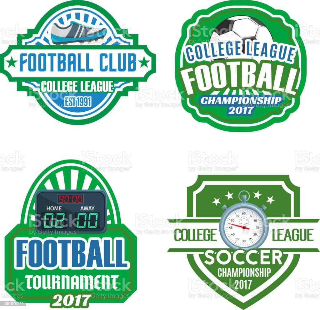Football sport club, soccer championship badge set vector art illustration