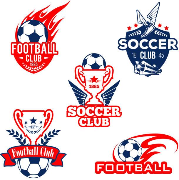 bildbanksillustrationer, clip art samt tecknat material och ikoner med fotboll sport club, fotboll spel konkurrens badge - fotboll eld