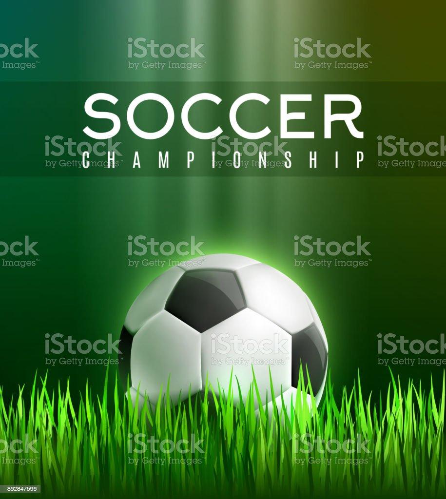 0022cf28d Cartaz jogo de futebol esporte com bola de futebol 3d vetor de cartaz jogo  de futebol