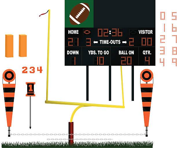 ilustrações de stock, clip art, desenhos animados e ícones de estádio de futebol de equipamento-marcador, poste da baliza - primeiro down futebol americano