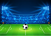 Football Stadium with a ball. Soccer field in the light of searchlights. Football World Cup. Vector illustration