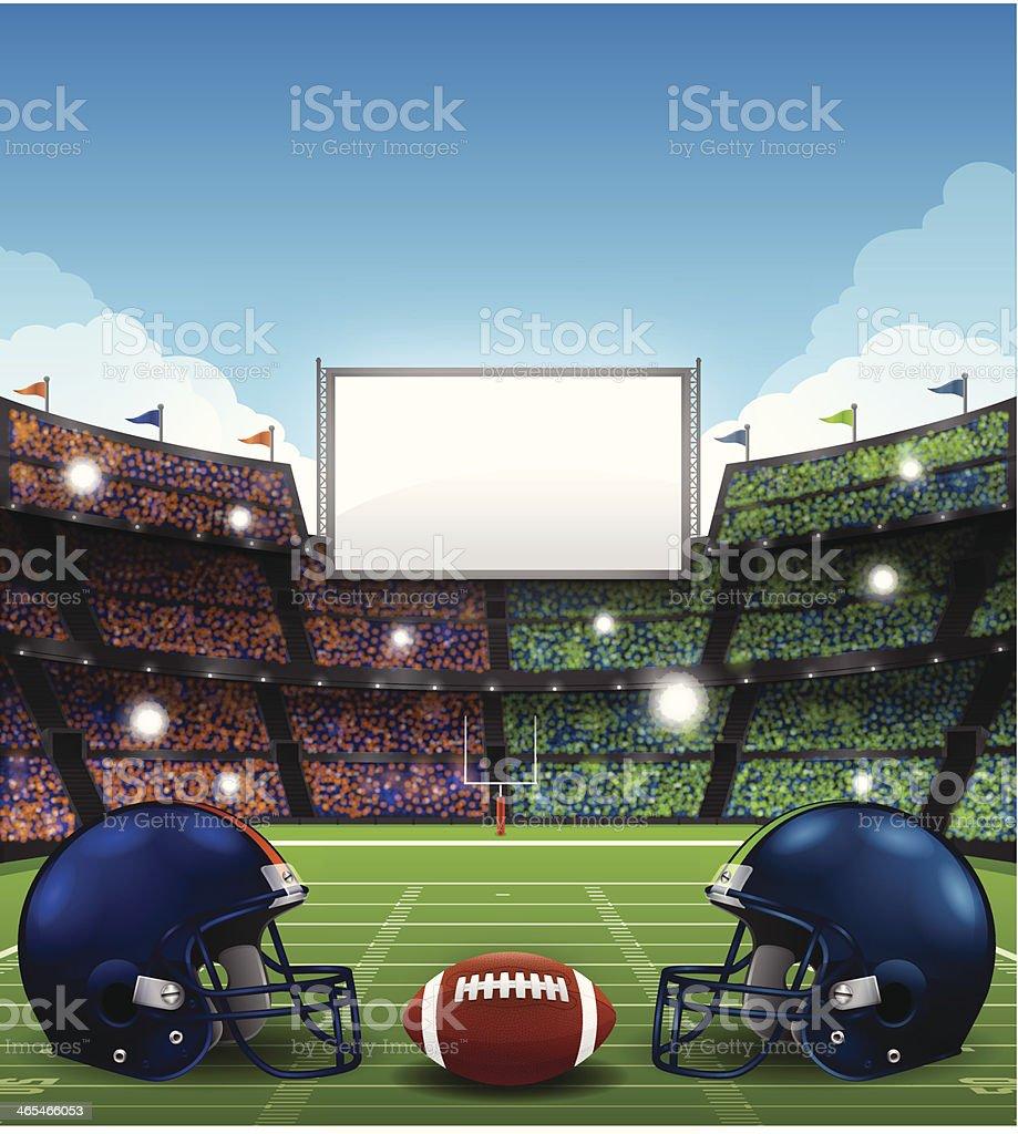 Football Stadium with Helmets vector art illustration
