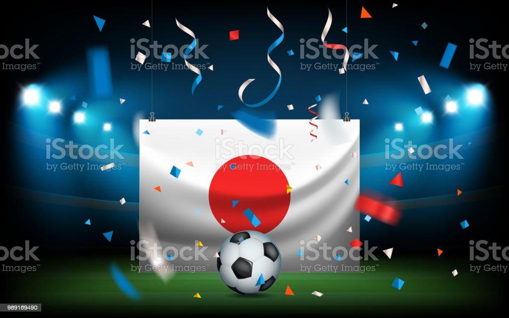 Estadio de fútbol con la pelota y la bandera. Japón gana ilustración de  estadio de 5784df47dea56
