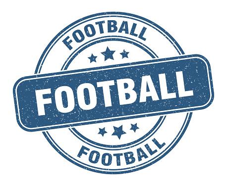 football stamp. football label. round grunge sign