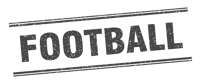 football stamp. football label. square grunge sign
