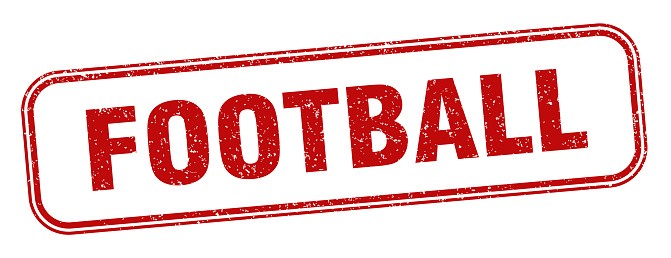 football stamp. football square grunge sign. label