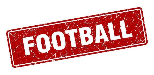 football stamp. football vintage red label. Sign