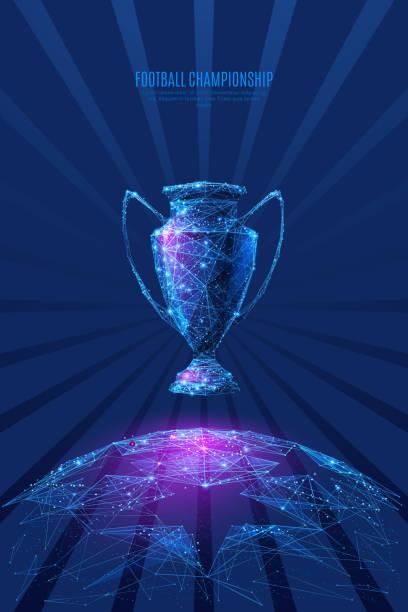 Fußball Sternenhimmel Ball low-Poly blau lila – Vektorgrafik