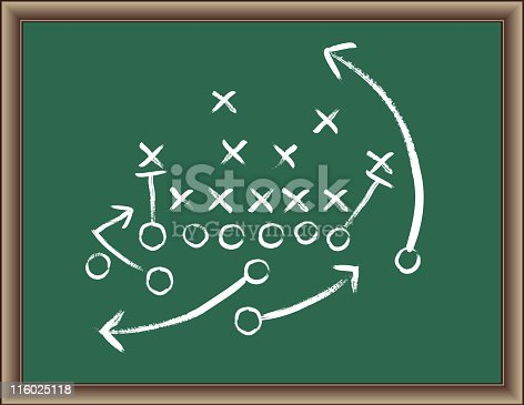 istock Football Strategy Game plan on blackboard with wooden frame 116025118