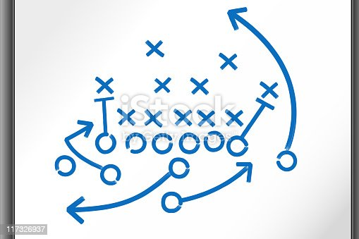 Football Strategy Game plan on whiteboard. This royalty free vector illustrations features a football strategy game plan diagram done in blue marker on a white board. The arrows cross and circle sign represent football offense and defense and a goal of getting a game winning touchdown.