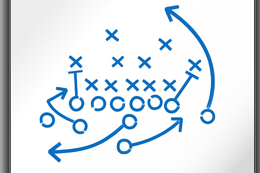 Football Strategy Game plan on whiteboard